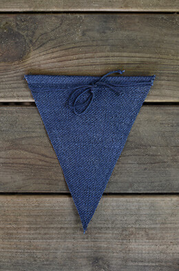 12 Navy Blue Burlap Pennants  8x10in