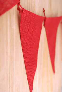 Red Burlap Pennants