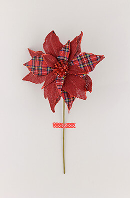 Burlap Poinsettia Pick Red 15in