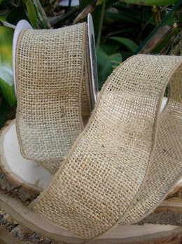 "Burlap Ribbon 3"" width 10 yards Wire Edge"