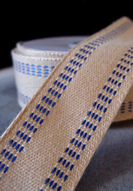 "Soft Burlap with Blue Stitching 1.5"" x 10yds"