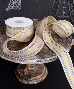 Burlap Ribbon Blue Stitch 1.5