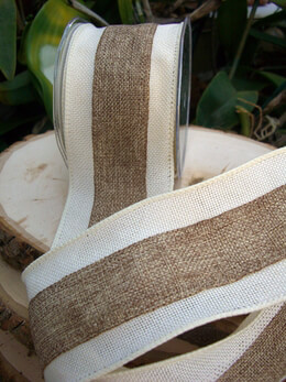 Burlap Ribbon White and Ivory 3in x 10 yds
