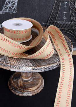 "Soft Burlap Ribbon with Red Stitching 1.5"" x 10yds"