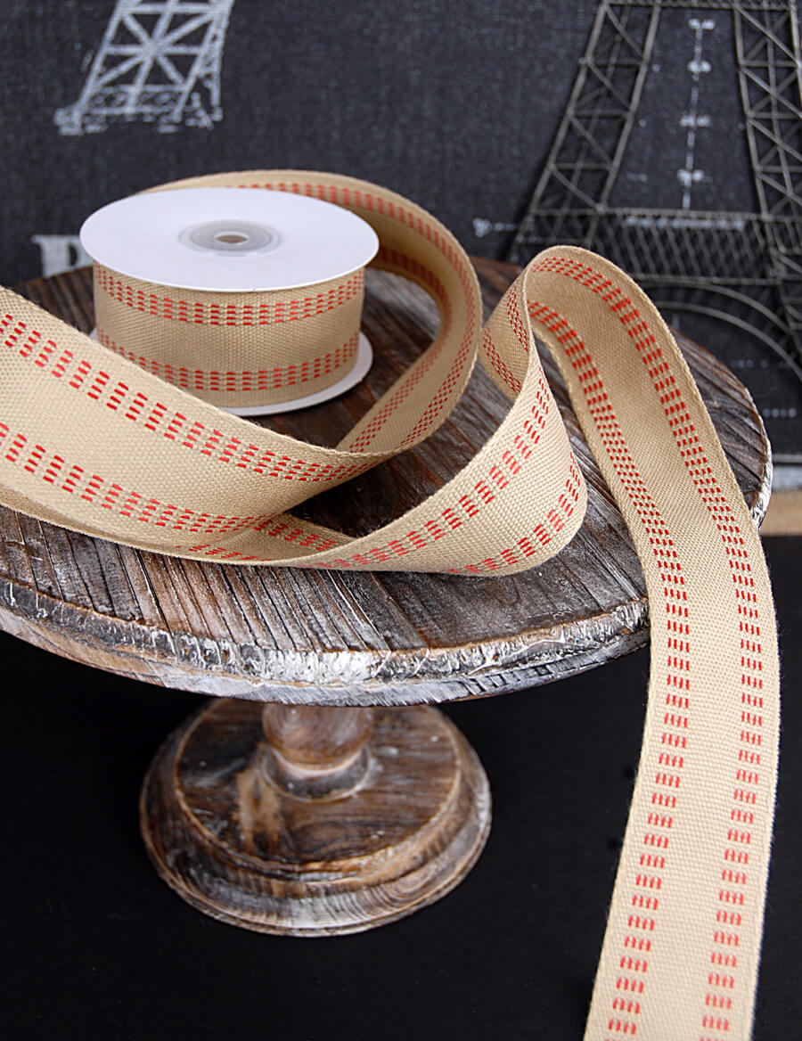 Burlap ribbon red stitch 1 5 x 10yds for Save on crafts burlap