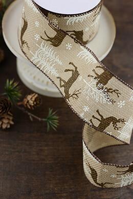 Burlap Ribbon Reindeer 2.5in x 10yd