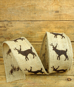 Burlap Ribbon with Reindeer 2.5in x 10yds
