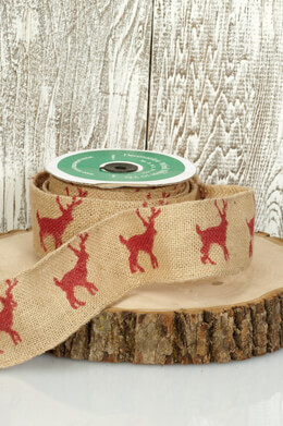 "2.5"" Reindeer Print Burlap Wired Ribbon: Natural & Red (10 Yards)"