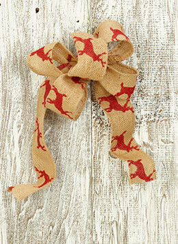 Burlap Ribbon with Reindeer Red 2.5in x 10yds