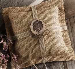 Burlap Ring Bearer Pillow with Medallion