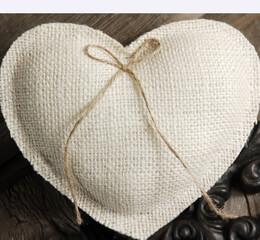 Burlap Heart Ring Bearer Pillow White