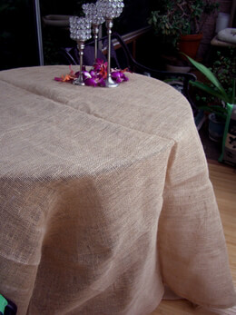 "Burlap Table Cloths Hemmed 60"" x 60""  Square"