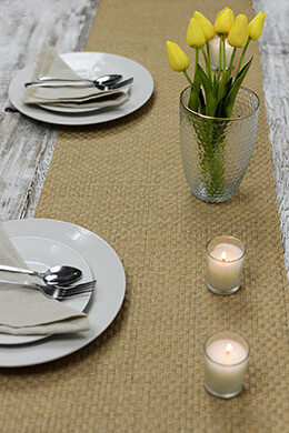 Burlap Table Runner Woven 14x72in