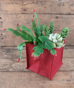 Burlap Vase Holder Square 5in Red (Pack of 12)