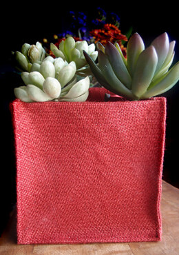 12 Red Burlap Pot Covers 6x6 Lined