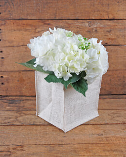 Burlap Vase Holder Square 5in White (Pack of 12)