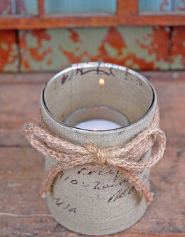 Burlap Votive Holder 4in