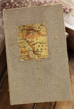 Burlap & Wood Book Box with Map
