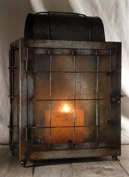 "Industrial 15"" Square Butte Lantern Candleholder"