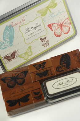 Butterfly Rubber Stamps by Cavallini & Co. with Stamp Pad Les Papillons