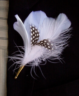 White & Black Quail Feather Boutonniere