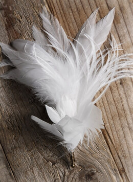 White Feather Buttonholes Boutonniere 6.5""