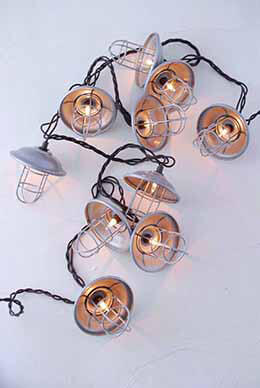String Lights, Nautical Cage, Outdoor, Plug In, Warm White 8.5ft - 10ct