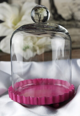 Cake Plate Hot Pink with Glass Dome Cover 3in
