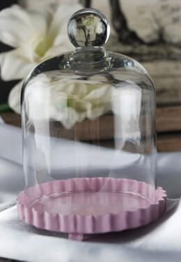 Cake Plate Pink with Glass Dome 3in