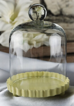 "Cake Plate Yellow 3"" with Glass Dome Cover"