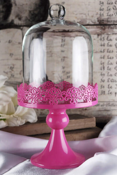 Cake Stand Hot Pink Pedestal In With Glass Dome Cover