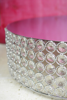 "Large Crystal & Stainless Steel 18"" Cake Plateau"