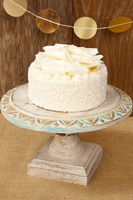 Wood Cake Stand White 10in