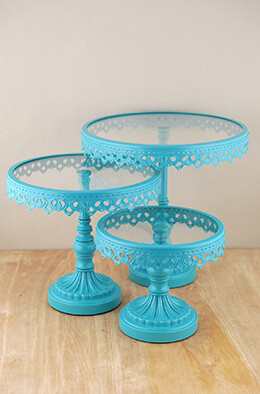 Cake Stands Round Metal & Glass Pedestal Stands Turquoise (Set of 3)