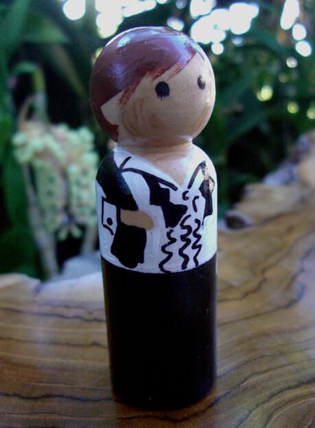 Cake Toppers Groom Brown/ Red Hair & Black Tux