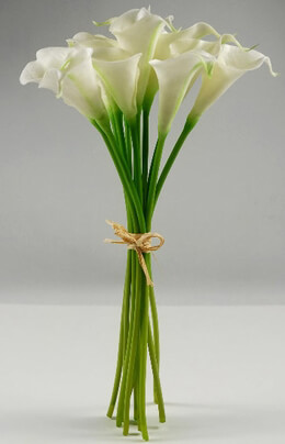 "Real Touch Hand-Tied Calla Lily Wedding Bouquet in White - 14"" Tall"