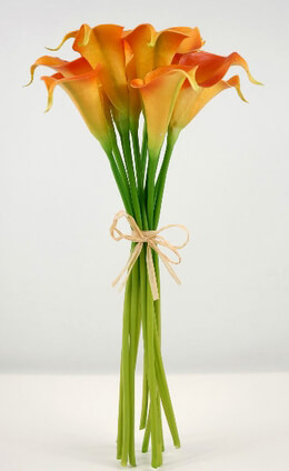 Small Real Touch Hand-Tied Orange Calla Lily Wedding Bouquet  12 Flowers