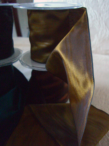 "Camel Gold Satin Deco Moire Ribbon 3"" width 27 feet"