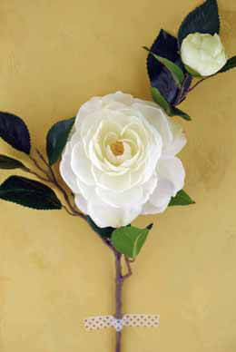 Silk Flowers White Camellia Spray with Bud