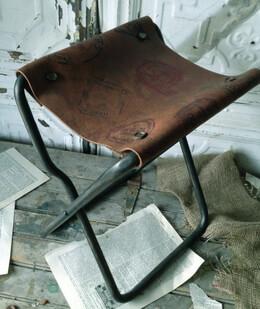 Folding Stool Vintage Leather