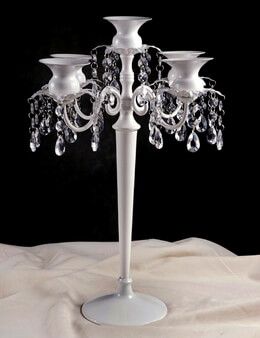 Candelabras Crystal 5 Arm White Metal