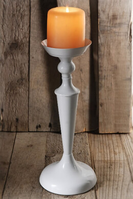 Pedestal Candle Holder White Metal