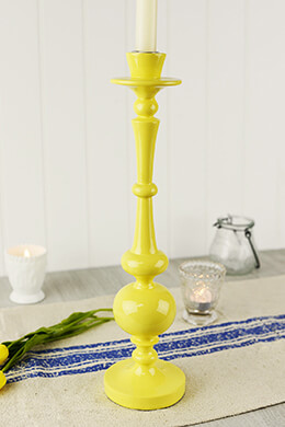 "Yellow Jaune 15"" Taper Candle Holder"