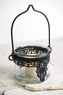 Hanging Black Lace Candle Holder