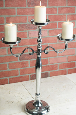 Pillar Candle Holder 3 Arm 26in Silver Candelabra