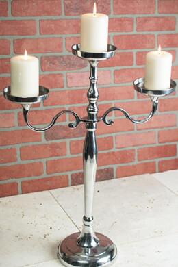 Pillar Candle Holder 3 Arm 26in Silver Candelabra