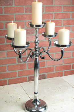 Pillar Candle Holder Candelabra 5 Arm 26in Silver