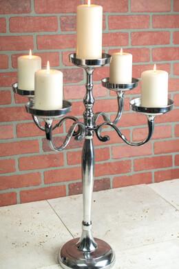 Pillar Candle Holder Candelabra 5 Arm 26in Silver