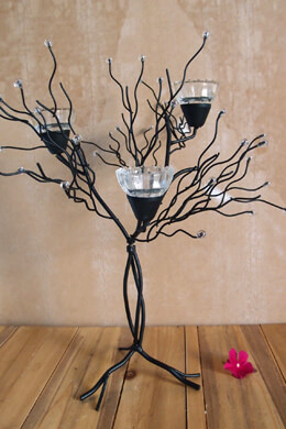 "16"" Metal Tree Table Top Candle Holder"