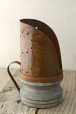 Rusty Candle Holder with Wood Base  7.75in